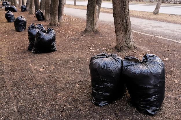 Lleno de basura bolsas de plástico negro en la naturaleza, en un parque público, a lo largo de la carretera.