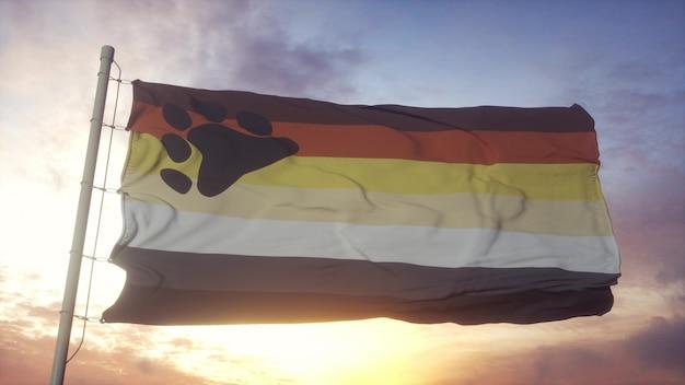 Lleve la bandera del orgullo de la hermandad ondeando en el fondo del viento, el cielo y el sol. representación 3d.