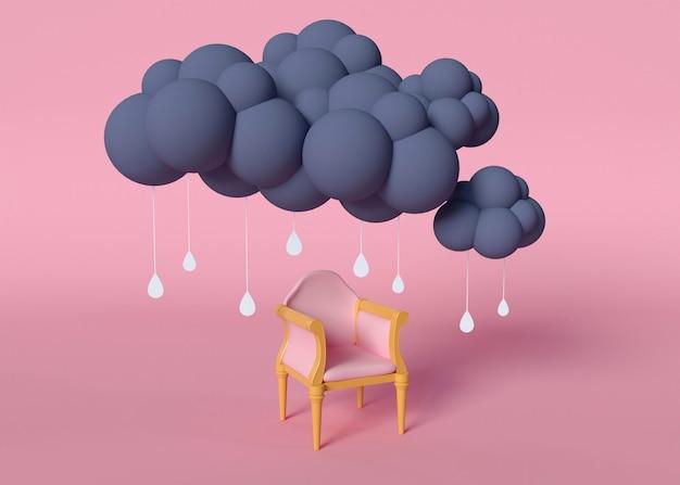 Lloviendo concepto y silla