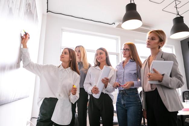 Lluvia de ideas corporativas con mujeres