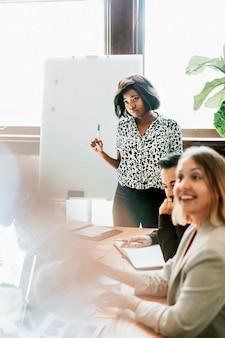 Lluvia de ideas del equipo de empresas de inicio en la sala de reuniones