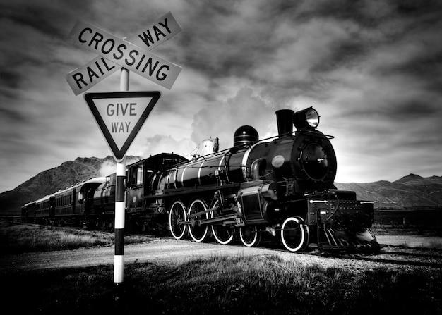 Locomotora de vapor pasada de moda, kingston nueva zelanda.