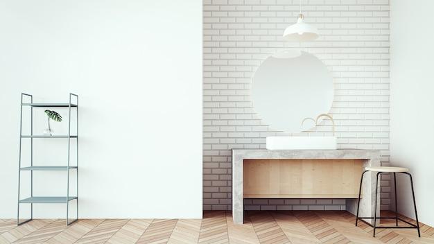 Loft y baño moderno de lavabo / interior de render 3d