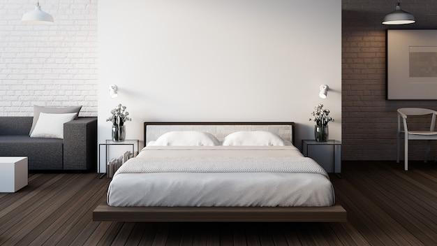 El loft y el dormitorio moderno