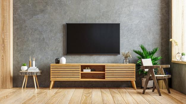Loft, habitación vacía con tv y gabinete sobre fondo oscuro interior de hormigón. representación 3d