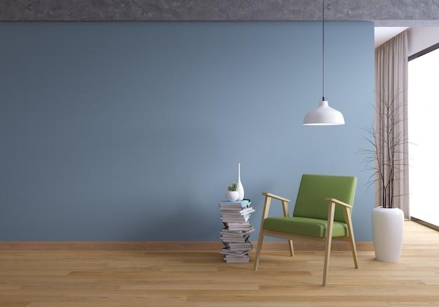 Loft y interior vintage de diseño de sala y estilo acogedor.