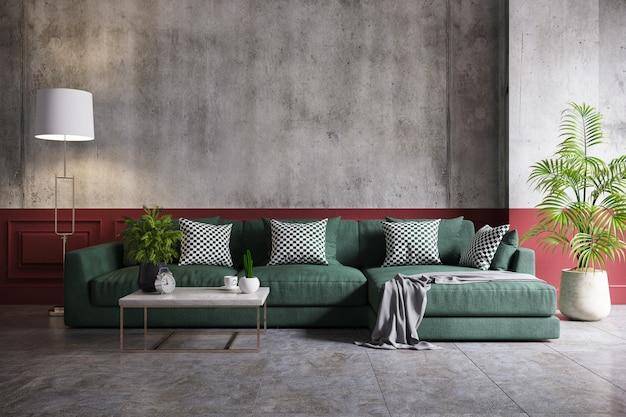 Loft moderno e interior vintage de sala de estar, sofá verde y lámpara dorada.