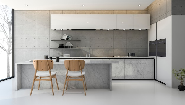 Loft de renderizado 3d y cocina moderna de hormigón