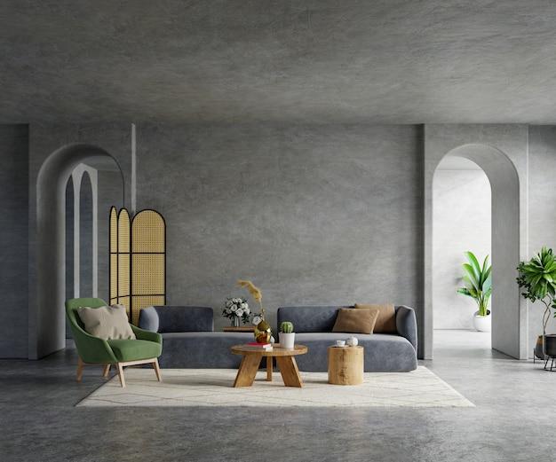 Loft de sala de estar en estilo industrial con sofá oscuro y sillón verde en muro de hormigón vacío, representación 3d