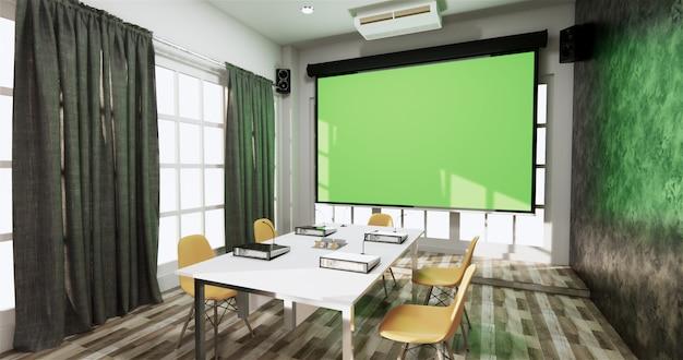Loft style office business: hermosa sala de juntas, sala de reuniones y mesa de conferencias, estilo moderno. renderizado 3d