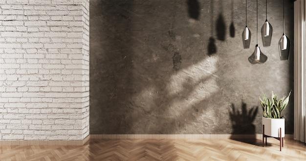 Loft vacío con pared de ladrillo blanco y una planta