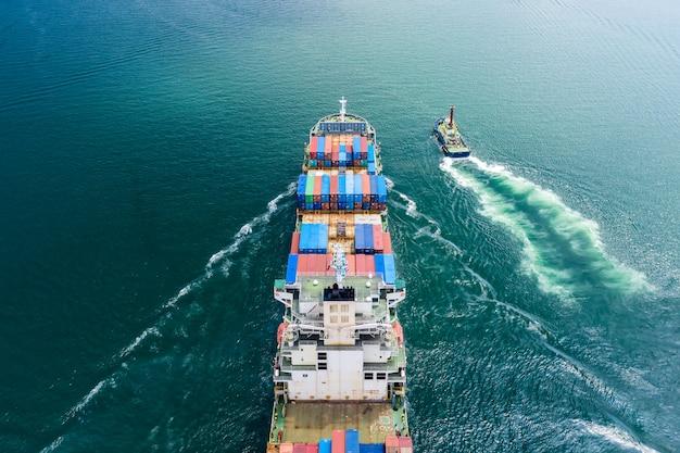 Logística negocios transporte por barco vuelo mar abierto servicio importación y exportación carga internacional