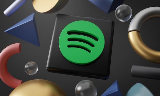 Logo de spotify alrededor de renderizado 3d forma abstracta