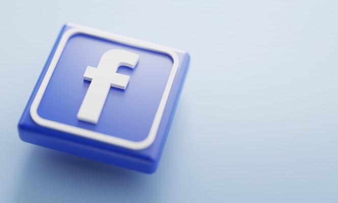 Logotipo de facebook representación 3d de cerca. plantilla de promoción de página de cuenta.