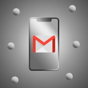 Logotipo de gmail en la pantalla del teléfono 3d render