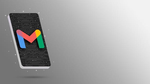 Logotipo de gmail en la pantalla del teléfono tecnológico 3d render