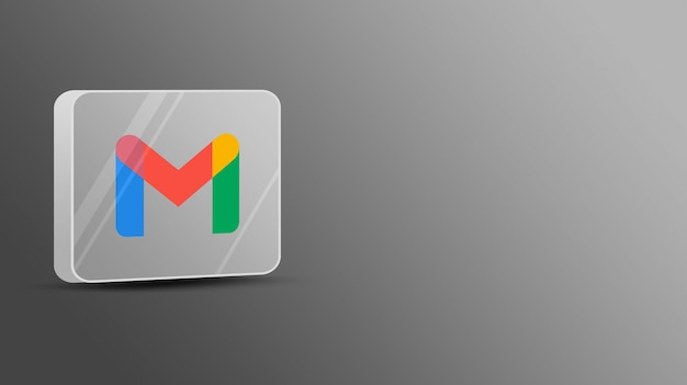 Logotipo de gmail en una plataforma de vidrio 3d