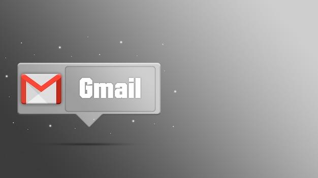 Logotipo de gmail en render 3d de burbujas de discurso