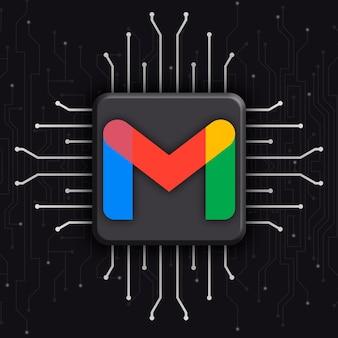 Logotipo de gmail sobre fondo de tecnología cpu realista 3d