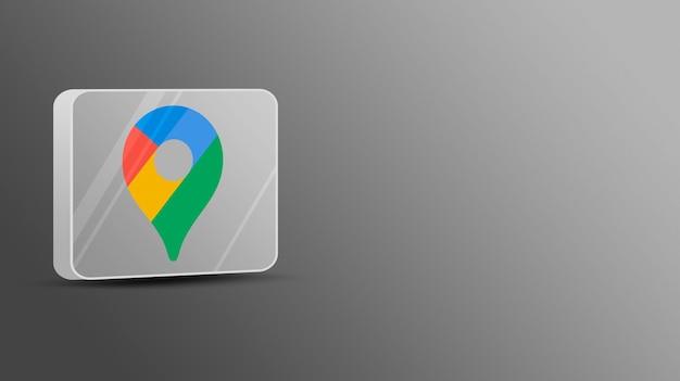 Logotipo de google maps en una plataforma de vidrio 3d
