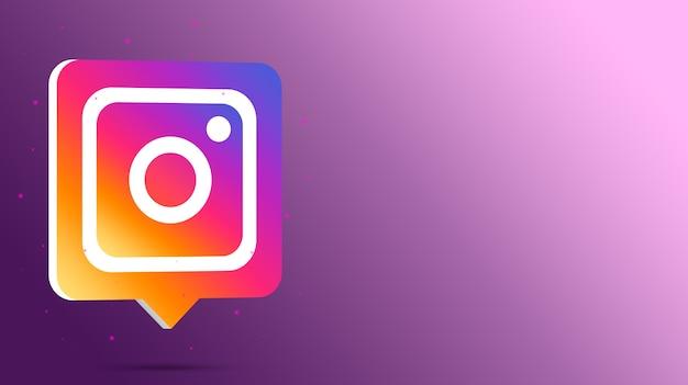 Logotipo de instagram en el bocadillo de diálogo 3d