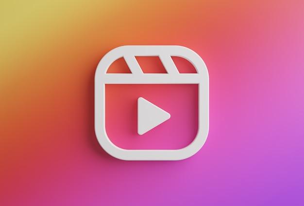 Logotipo de instagram de carretes. nueva función aplicación de redes sociales representación 3d