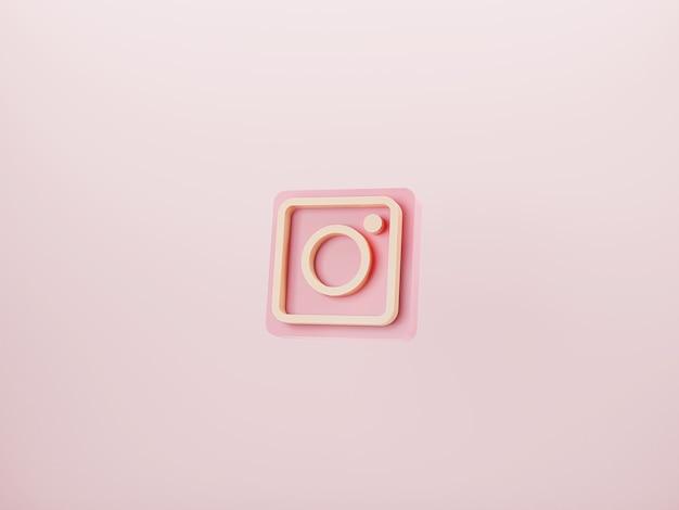 Logotipo de instagram sobre fondo rosa