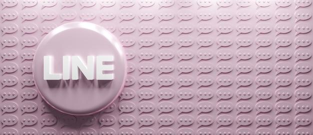 Logotipo de línea de renderizado 3d con icono de mensaje