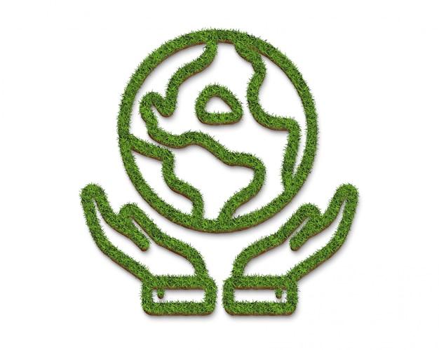 Logotipo o icono manos abrazando la tierra desde la superficie de la hierba verde