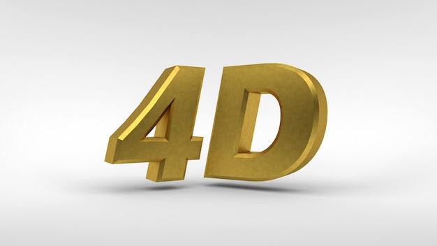 Logotipo de oro 4d aislado en blanco con efecto reflejo.