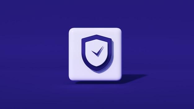 Logotipo de seguridad de seguridad 3d y espacio de copia, con fondo oscuro