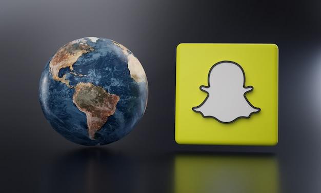 Logotipo de snapchat al lado de earth render.