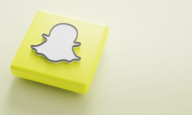 Logotipo de snapchat representación 3d de cerca. plantilla de promoción de cuenta.