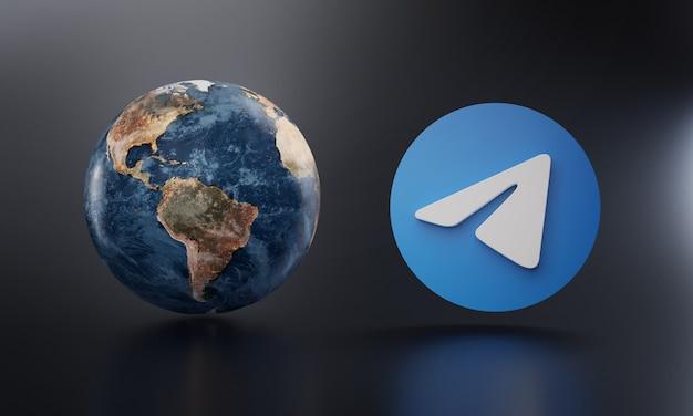 Logotipo de telegram al lado de la tierra representación 3d.