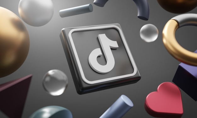 Logotipo de tiktok alrededor de fondo de forma abstracta de representación 3d
