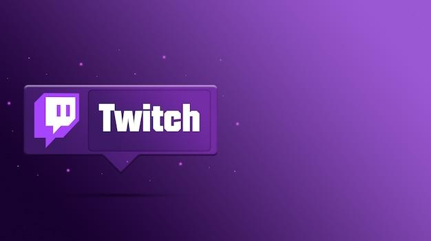 Logotipo de twitch en el bocadillo de diálogo 3d