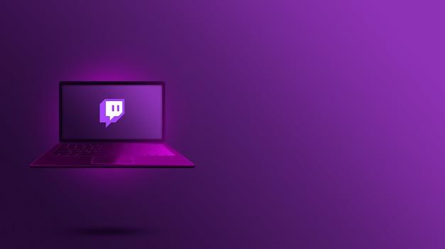 Logotipo de twitch en la pantalla del portátil