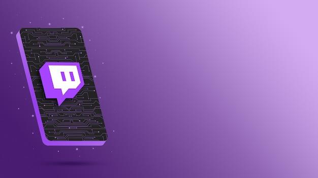 Logotipo de twitch en la pantalla del teléfono tecnológico 3d render