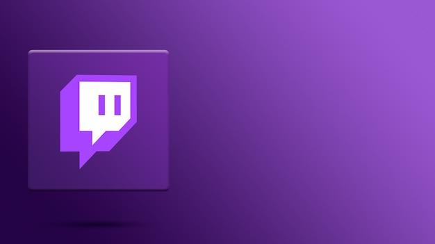 Logotipo de twitch en plataforma 3d