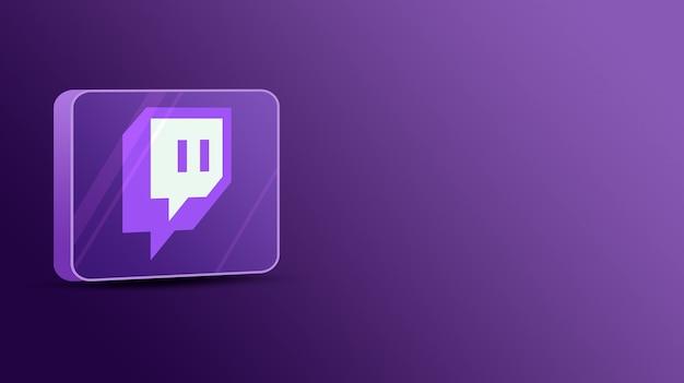 Logotipo de twitch en una plataforma de vidrio modelo 3d
