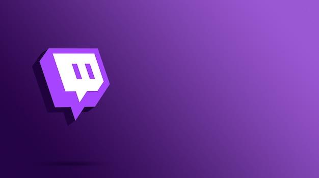 Logotipo de twitch de renderizado 3d