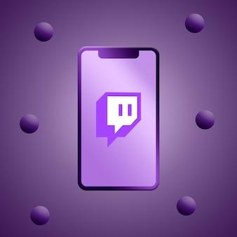 Logotipo de twitch en la representación 3d de la pantalla del teléfono