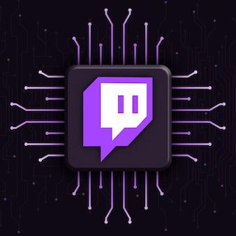 Logotipo de twitch sobre fondo de tecnología cpu realista 3d
