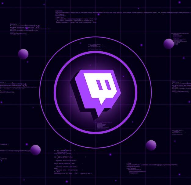 Logotipo de twitch sobre fondo de tecnología realista