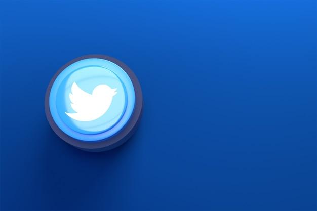 Logotipo de twitter 3d diseño minimalista simple con fondo azul