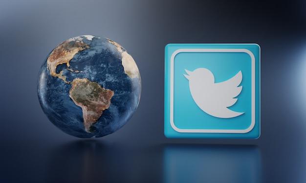 Logotipo de twitter al lado de earth render.