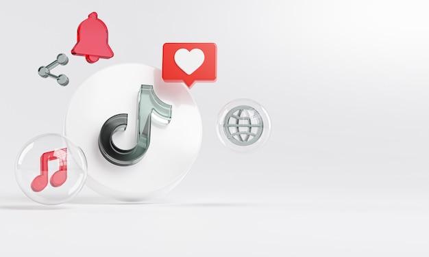 Logotipo de vidrio acrílico de tiktok e íconos de redes sociales espacio de copia 3d