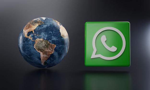 Logotipo de whatsapp al lado de la representación 3d de la tierra.