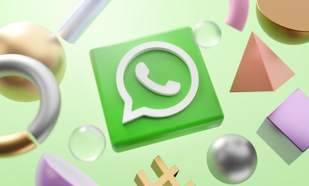 Logotipo de whatsapp alrededor de representación 3d de forma abstracta
