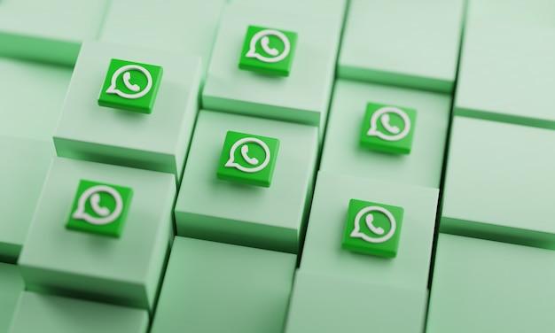 Logotipo de whatsapp en cubos. representación 3d de fondo de redes sociales